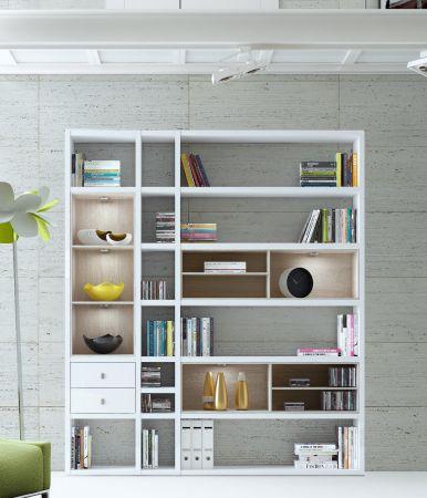 Wohnwand Bücherwand MDor Dekor Lack weiß matt schwarz LED-Beleuchtung Breite 193 cm