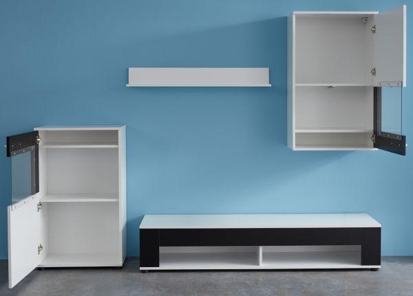 Wohnwand Corner in weiß und Absetzungen in schwarz Schrankwand 4-teilig 230 x 175 cm Anbauwand