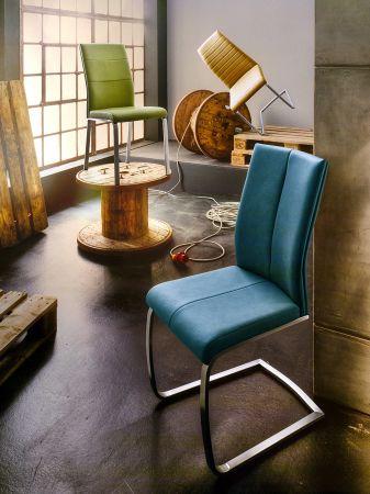 2 x Stuhl Flores in Petrol Kunstleder und Edelstahl Tellerfuß 360° drehbar Esszimmerstuhl 2er Set Drehstuhl