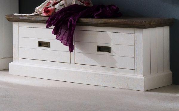Garderobe Sitzbank Gomera in Akazie massiv Struktur weiß lackiert Landhaus Garderobenbank 120 x 45 cm