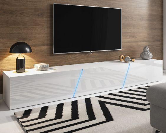 """TV Lowboard """"Space"""" in weiß Hochglanz Lack TV Unterteil hängend / stehend XXL-Board 240 cm mit LED"""