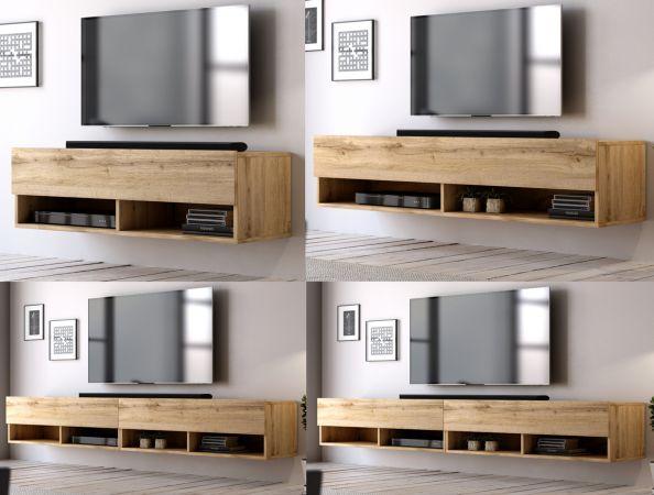 TV-Lowboard Epsom in Wotan Eiche TV-Unterteil hängend 200 x 30 cm Fernsehschrank XL