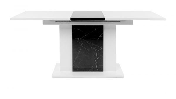 """Esstisch """"Brügge"""" in Hochglanz weiß und Marmor - Optik ausziehbar mit Einlegeplatte 140 / 180 x 80 cm"""