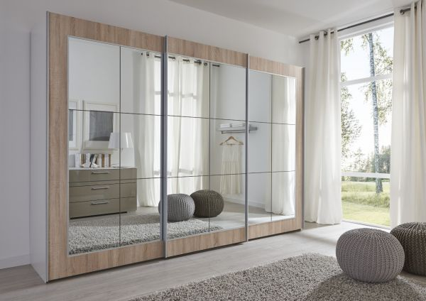 Schwebetürenschrank Kleiderschrank Dekor weiß Eiche Spiegelglas Breite 236 cm