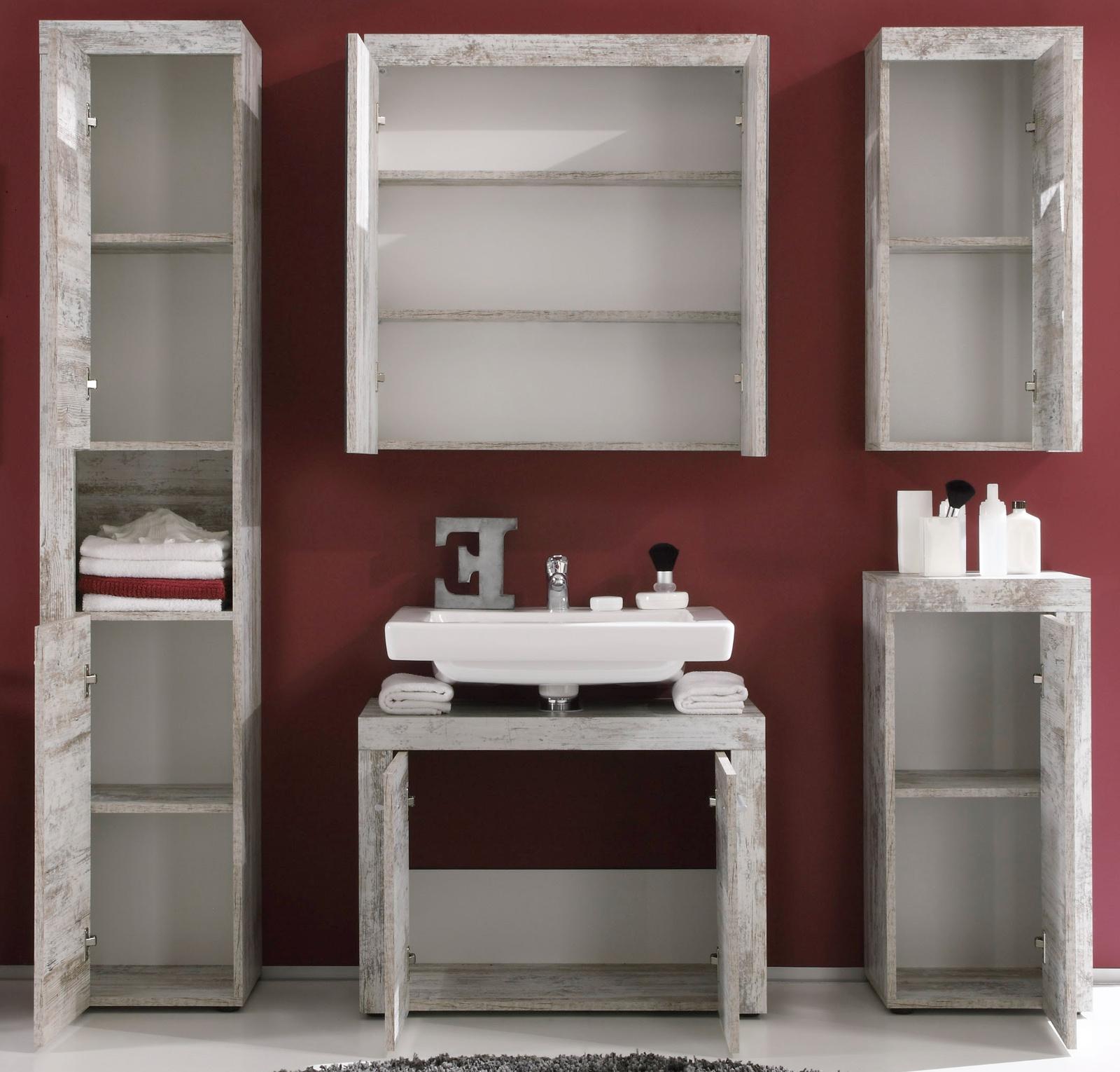 Badmöbel Set 5 teilig Cancun Pinie weiß Shabby 175 cm