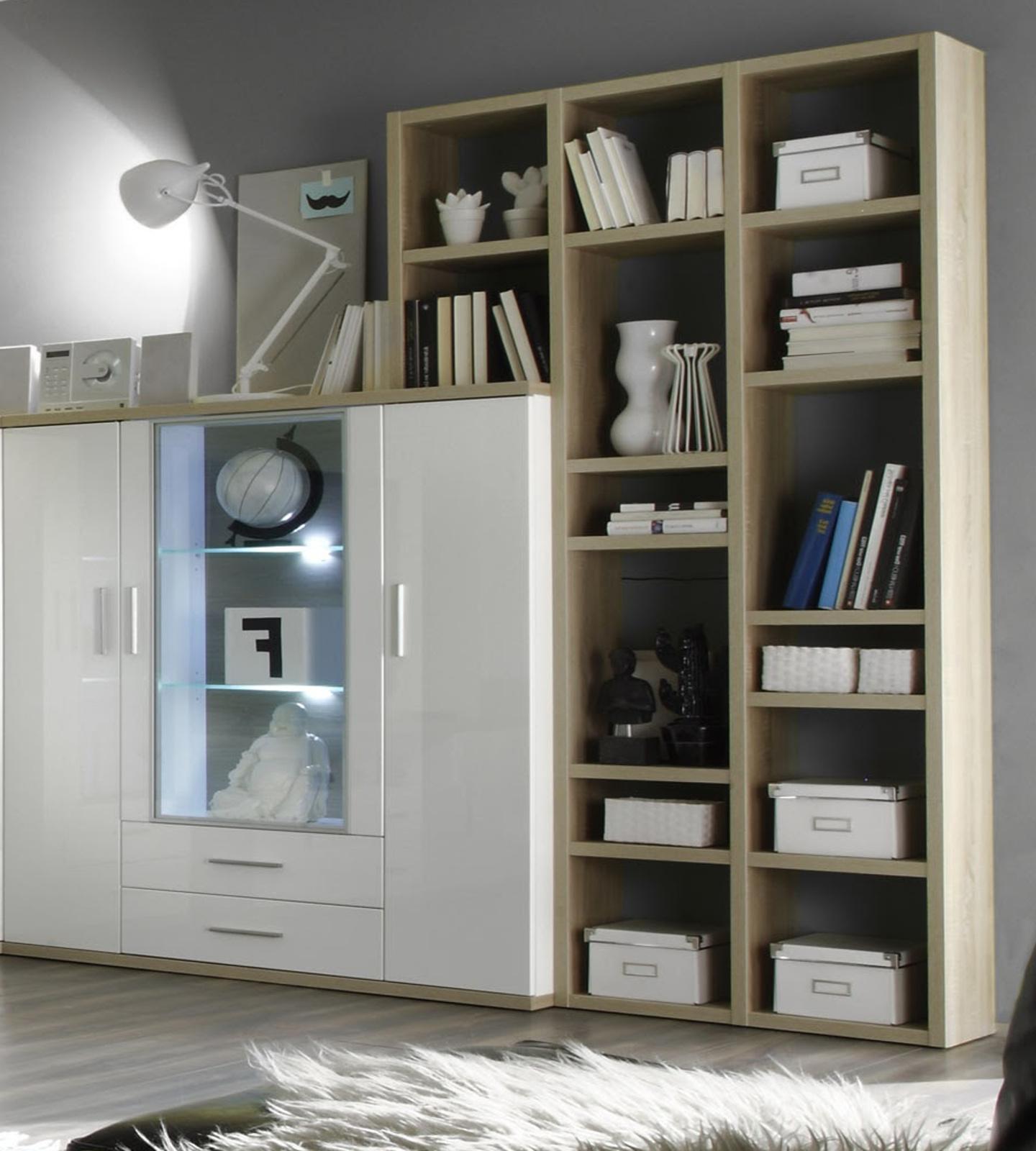 wohnwand arena hochglanz wei sonoma eiche. Black Bedroom Furniture Sets. Home Design Ideas