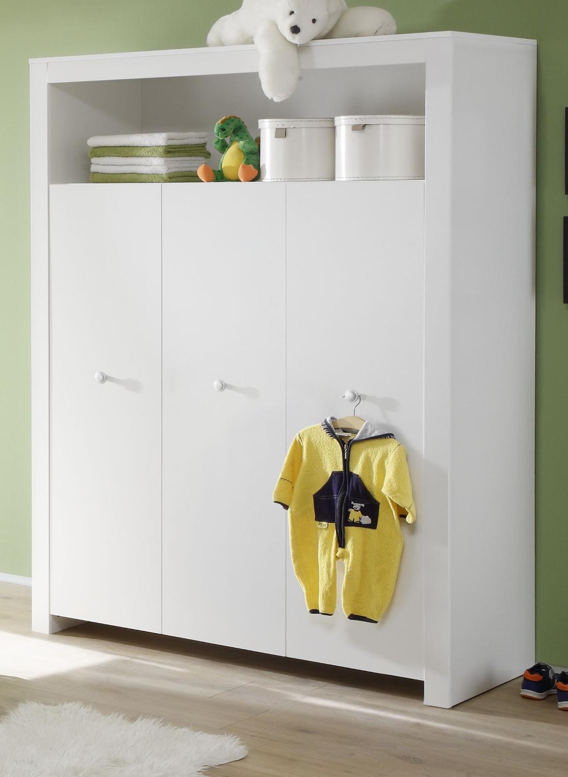 Babyzimmer Kleiderschrank Olivia Weiss 3 Turig 130 Cm
