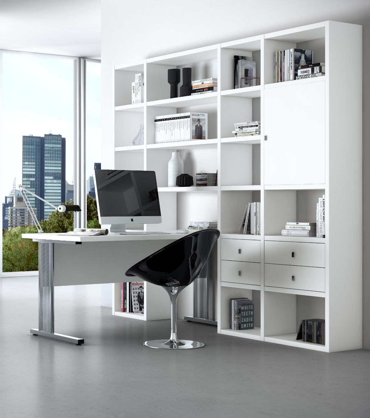 Bürowand Sekretär mit Schreibtisch Eiche weiß