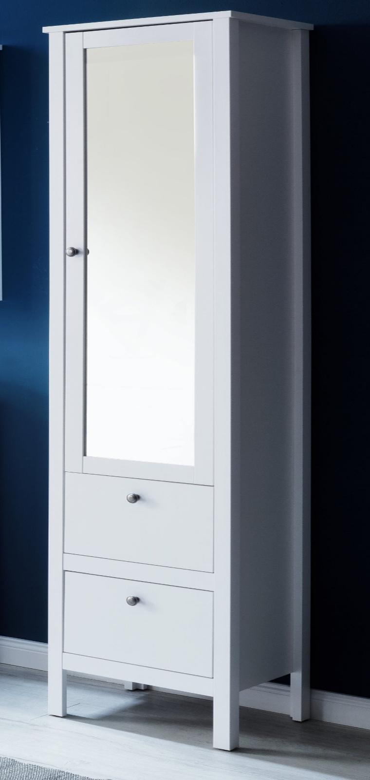 Badezimmer Hochschrank Ole in weiß 18 x 18 cm Badmöbel mit Spiegeltür