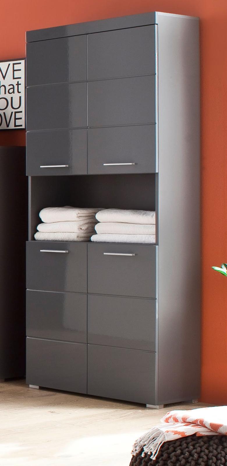 Badezimmer Hochschrank Amanda Grau Hochglanz 73x190 Cm