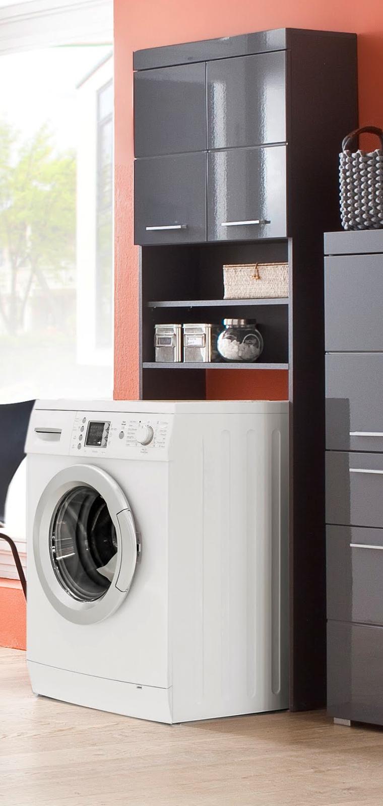 Waschmaschinenschrank Amanda Hochglanz Grau 63 Cm