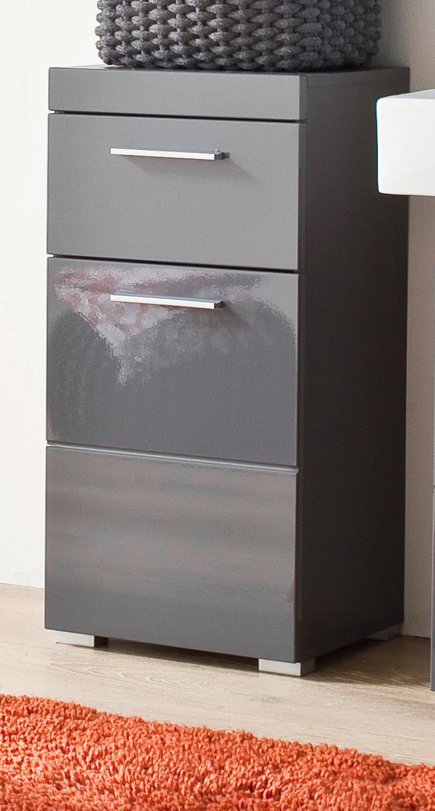 Badezimmer Unterschrank Amanda in Hochglanz grau Badschrank 12 x 12 cm  Kommode Badmöbel