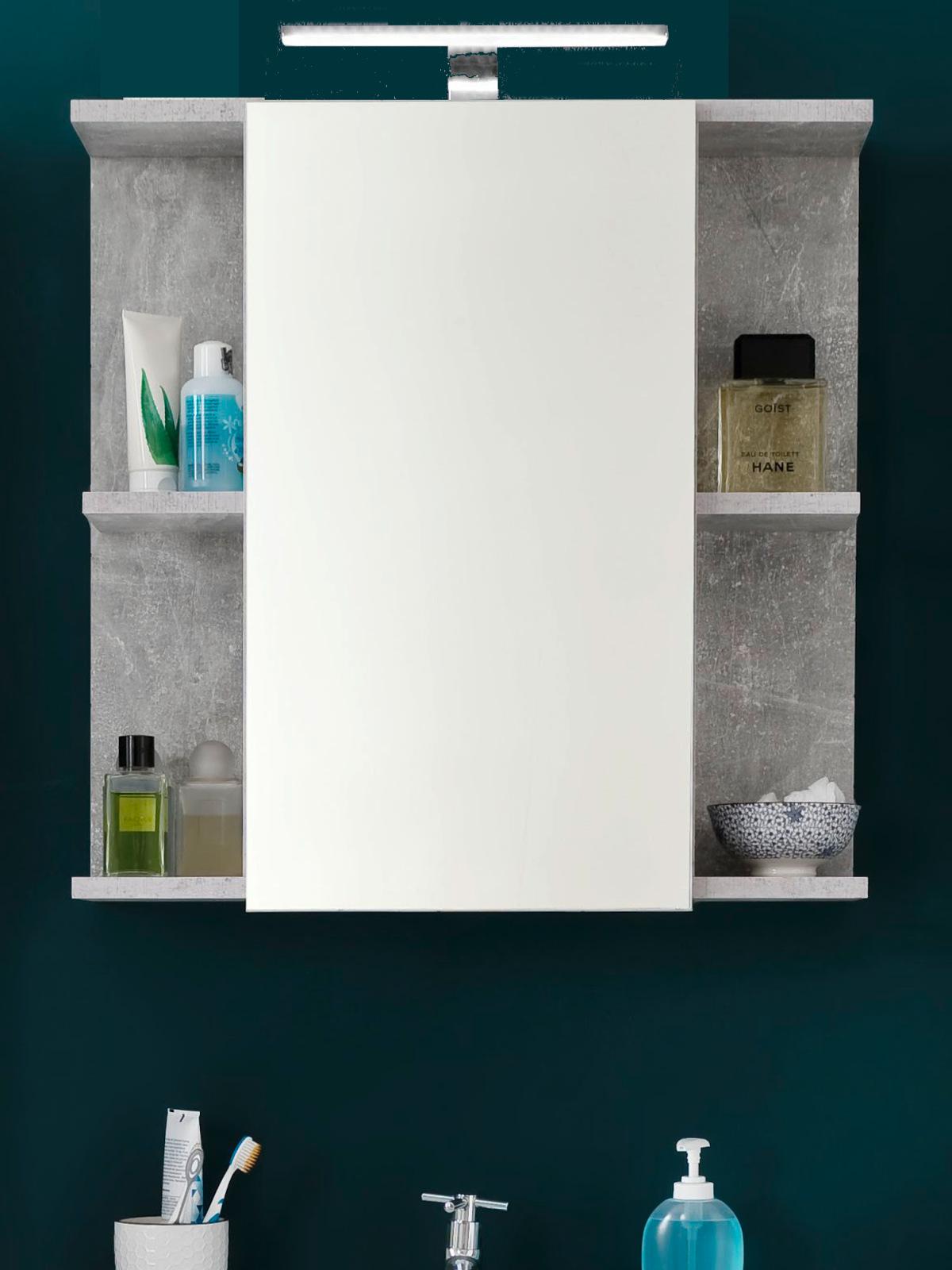 Bad Spiegelschrank Nano weiß Hochglanz und Stone grau