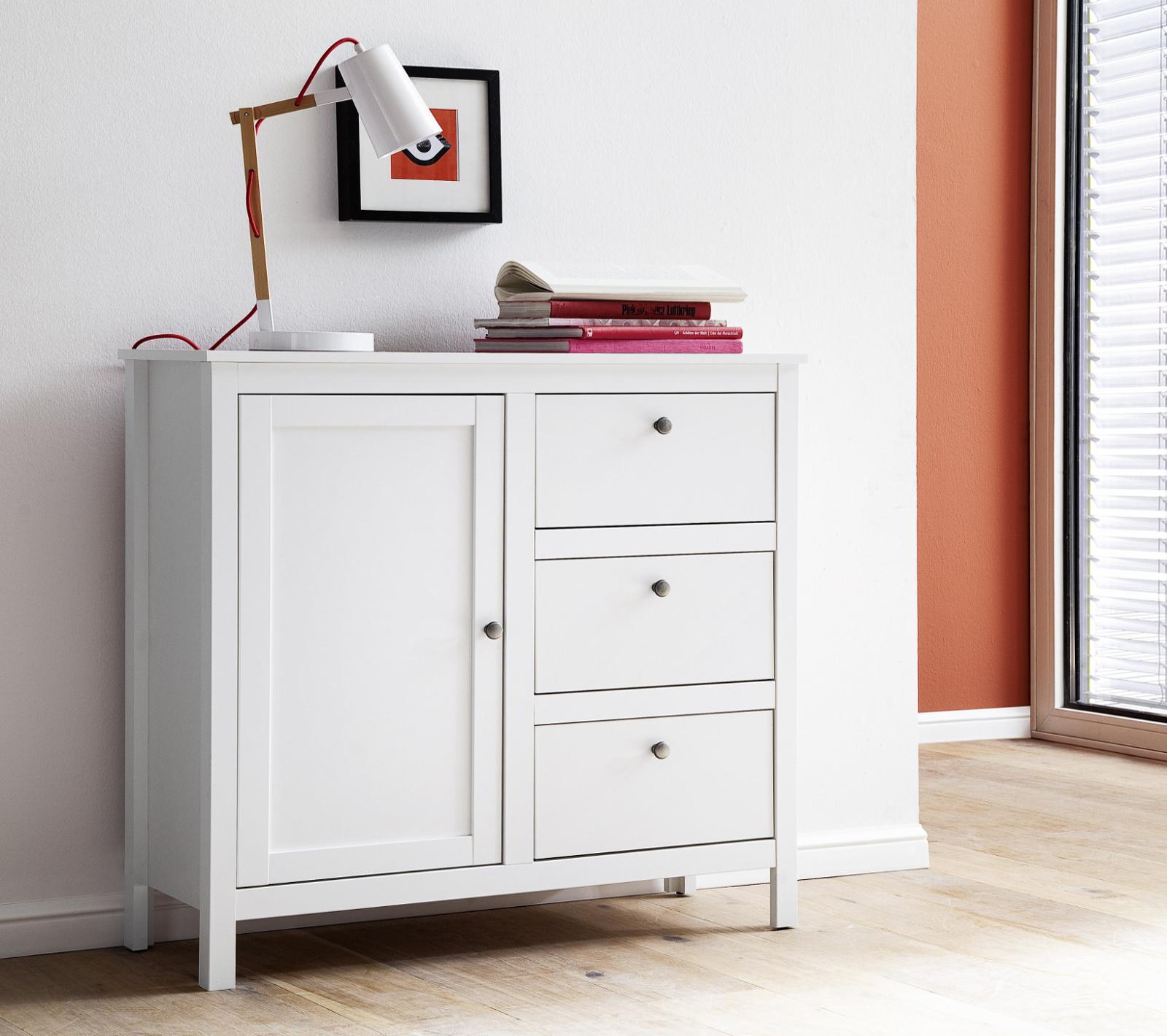 Kommode Ole in weiß Wohnzimmer Sideboard und Esszimmer Anrichte 96 x 98 cm