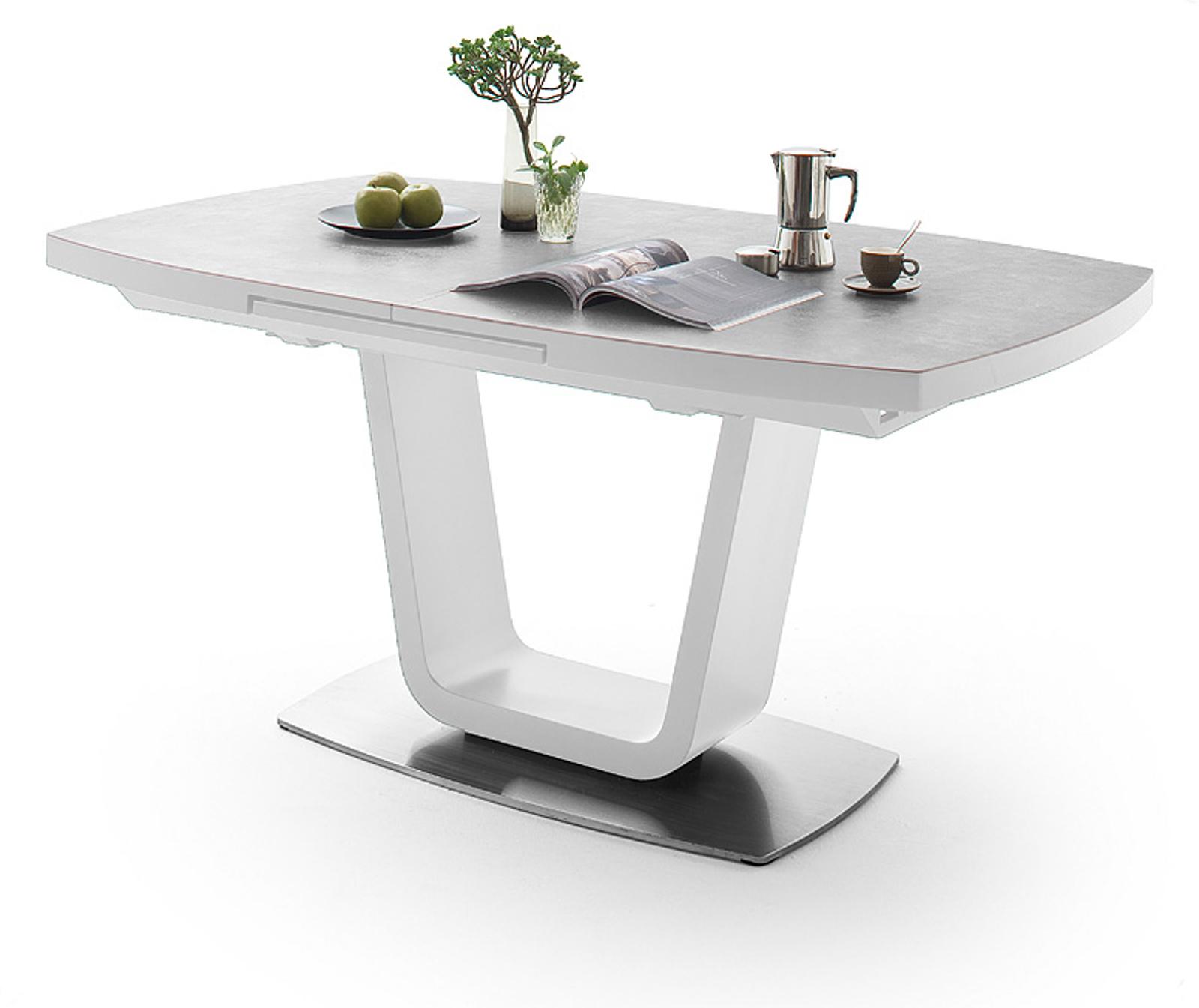esstisch leandro wei lack keramik grau 180 cm. Black Bedroom Furniture Sets. Home Design Ideas