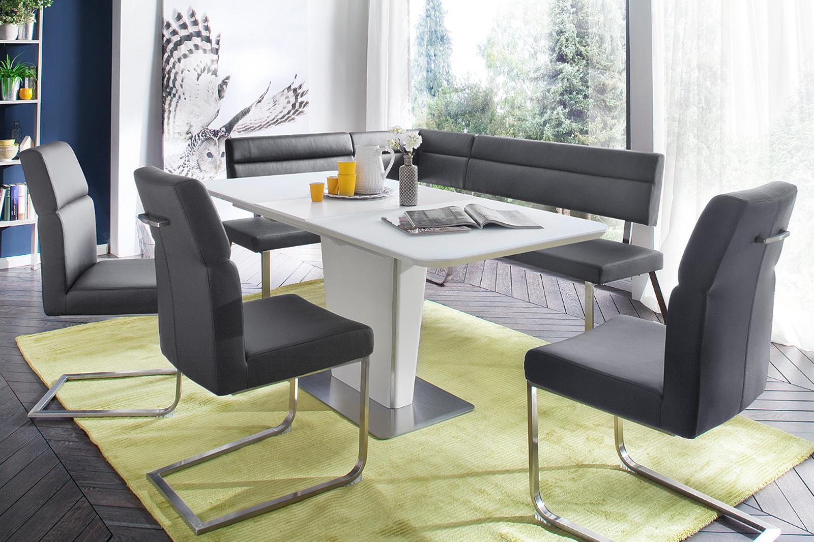 Esstisch Ubora weiß Lack 140 cm Säulentisch