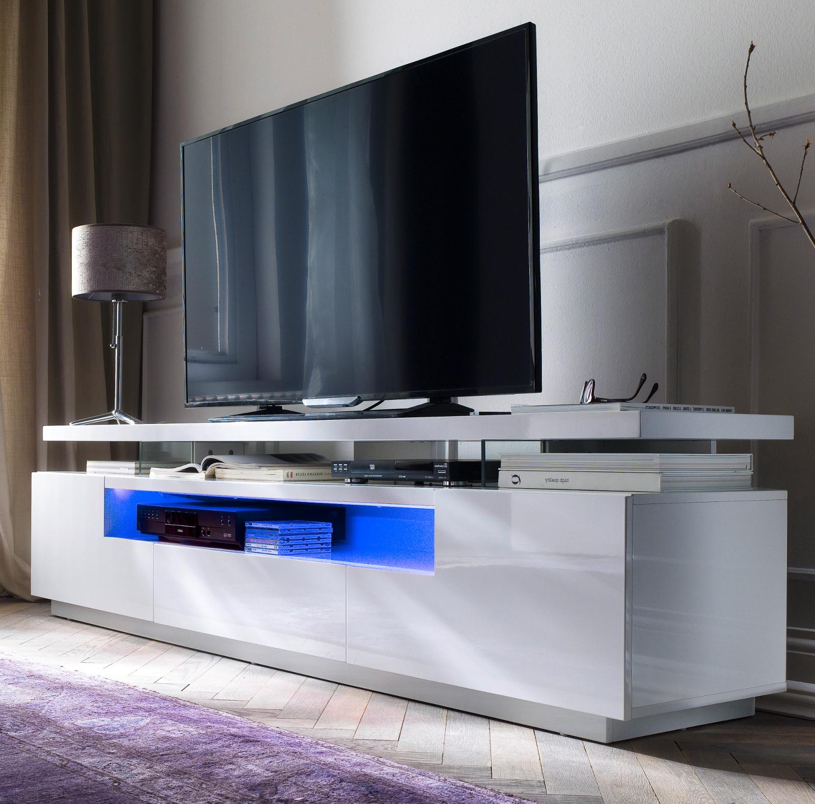 Tv Lowboard Evelina In Hochglanz Weiss Echt Lack Tv Unterteil Inkl Led Farbwechselbeleuchtung 200 X 51 Cm