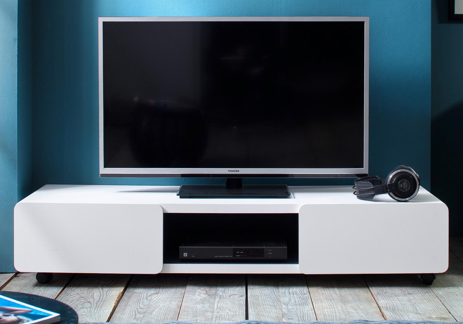 Tv Lowboard Jeff In Weiß Matt Mit Anthrazit Fernsehtisch Auf Rollen 140 X 28 Cm