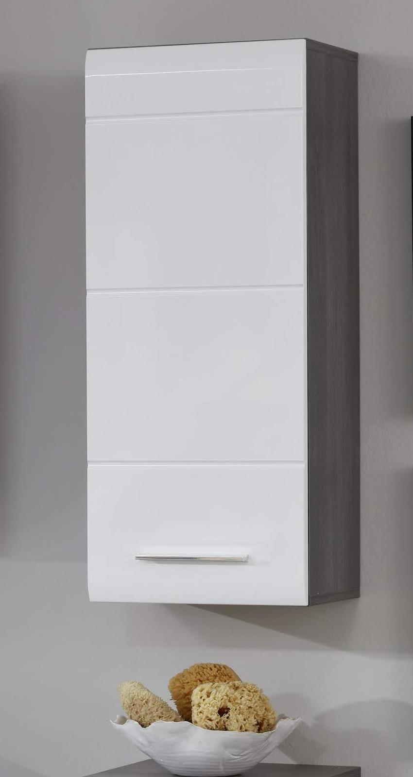 Bad Hängeschrank Hochglanz Weiß Sardegna Grau