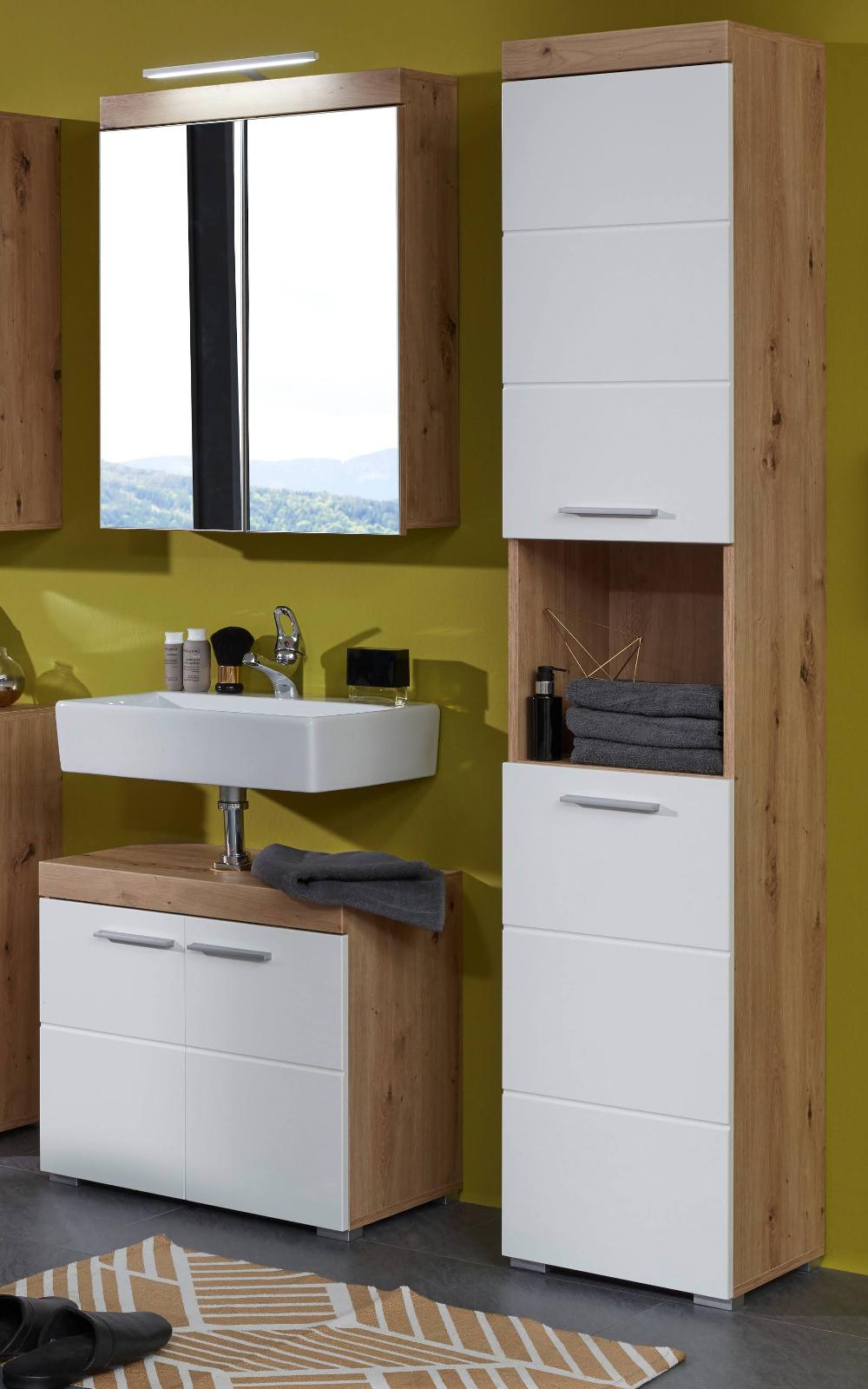 Badezimmer Badmöbel Set Amanda Hochglanz weiß und Eiche Asteiche  Badkombination 12-teilig 12 x 12 cm