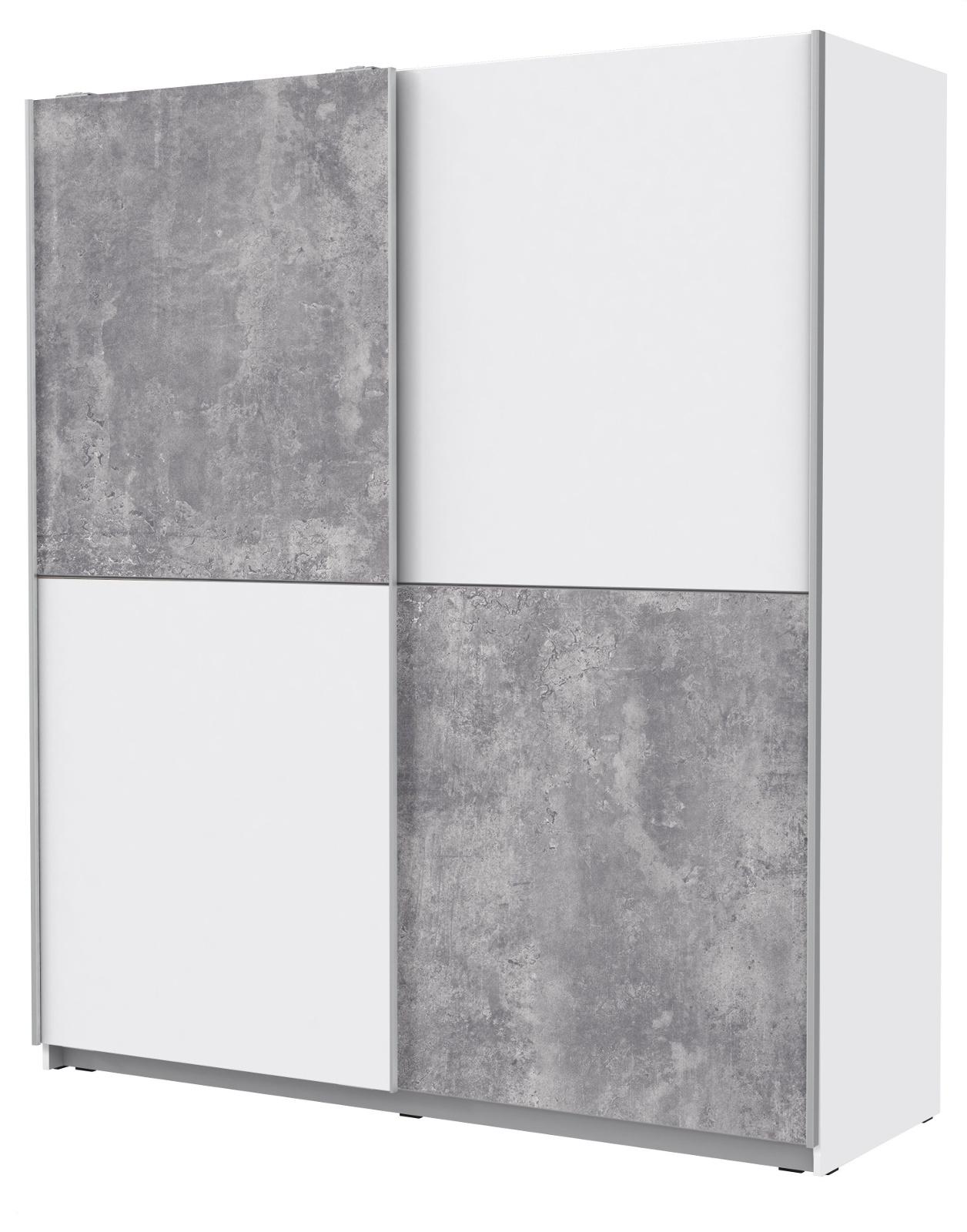 Schwebeturenschrank Winner Beton Design Und Weiss 170 Cm