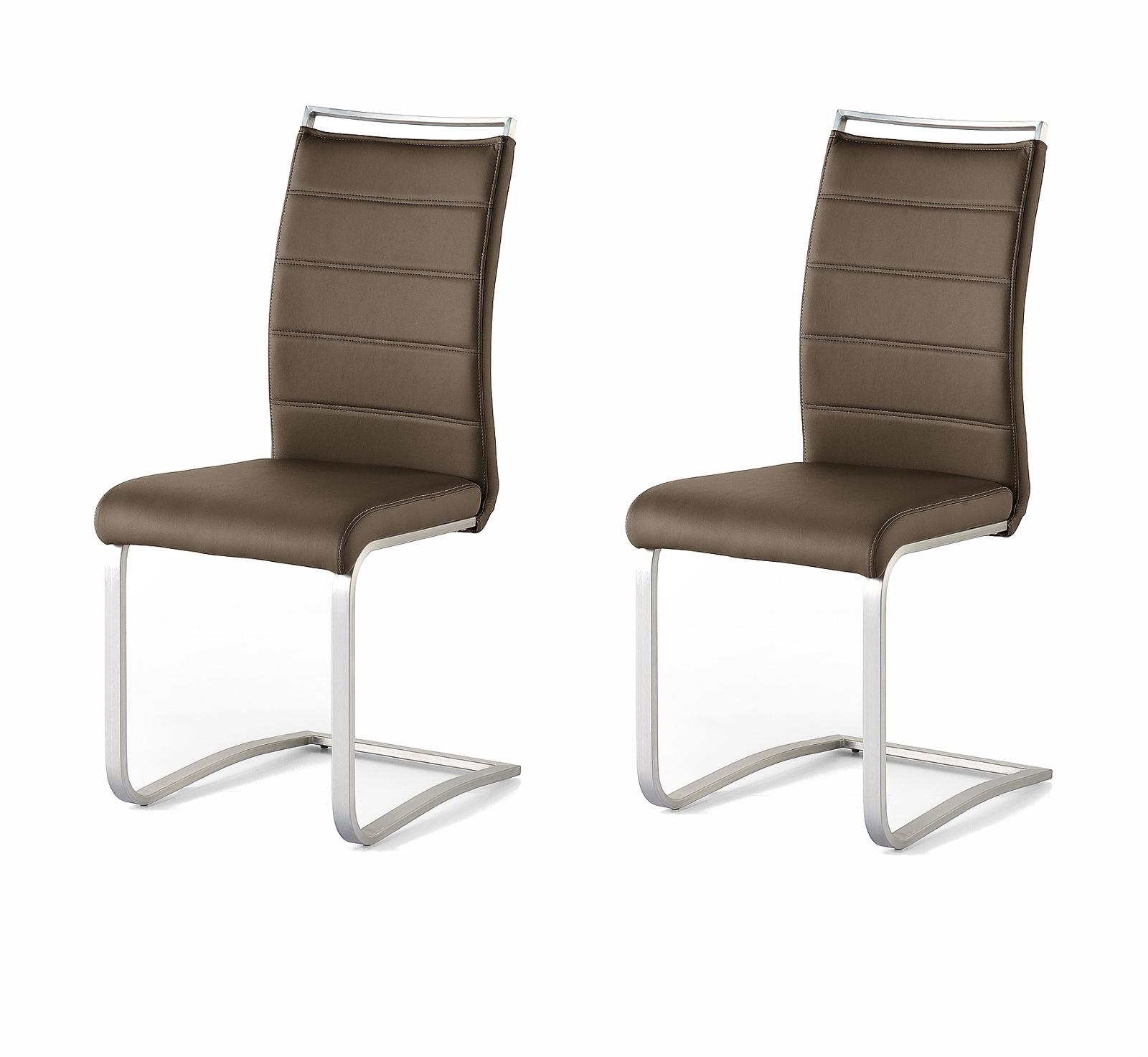 2 X Stuhl Pescara In Braun Kunstleder Und Edelstahl Freischwinger Mit Griffleiste Flachrohr Esszimmerstuhl 2er Set