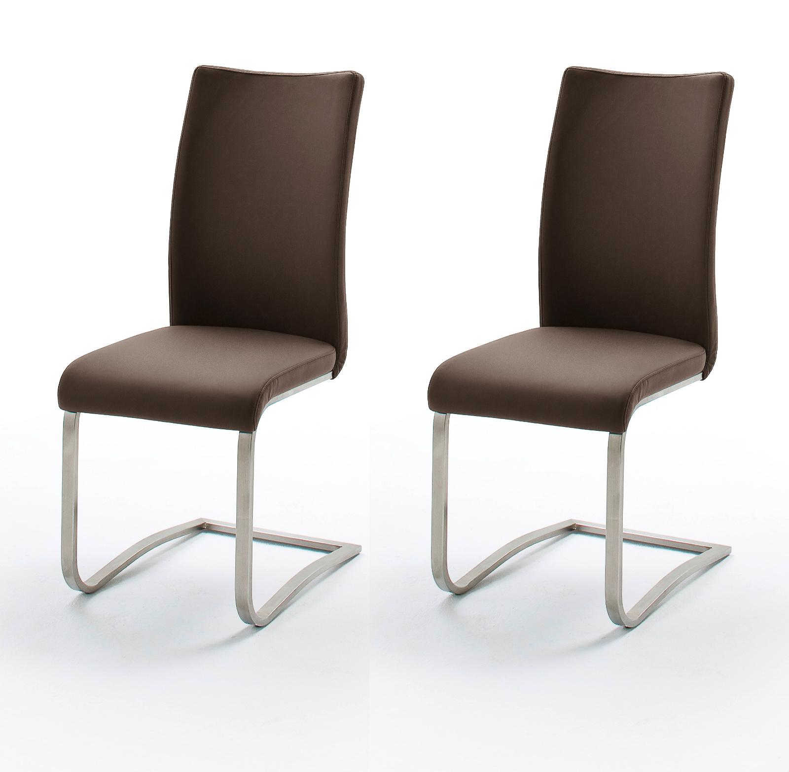 2 X Stuhl Arco In Braun Leder Und Edelstahl Freischwinger Flachrohr Esszimmerstuhl 2er Set