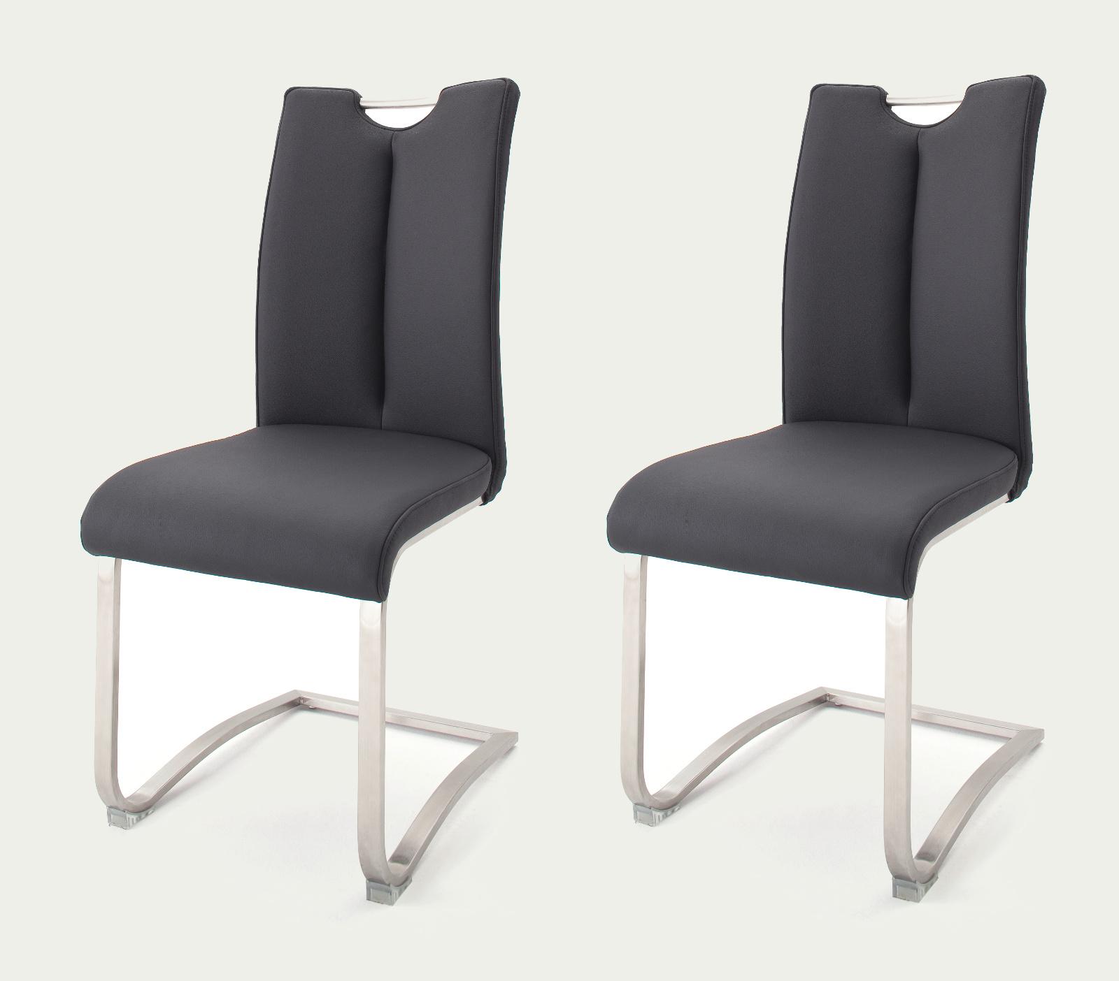 2 X Stuhl Artos In Schwarz Leder Und Edelstahl Freischwinger Mit Griffloch Flachrohr Esszimmerstuhl 2er Set
