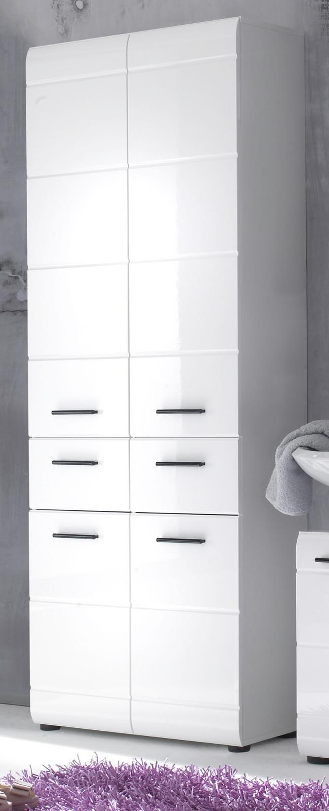 """Badezimmer: Hochschrank """"Skin"""" Hochglanz weiß (20x20 cm)"""