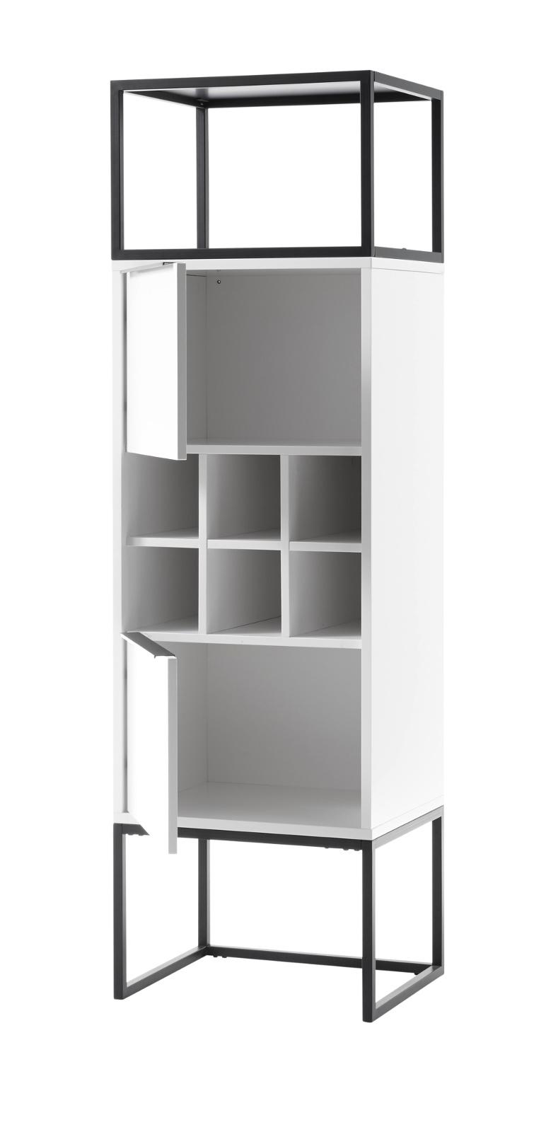 Standregal Lille in weiß mit Metallgestell 50x165 cm