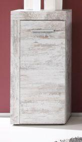 Badezimmer Unterschrank Cancun in Canyon Pinie weiß Shabby chic Badmöbel Vintage 36 x 81 cm Kommode