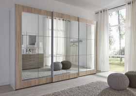 Schwebetürenschrank Kleiderschrank Dekor weiß Eiche Spiegelglas Breite 301 cm