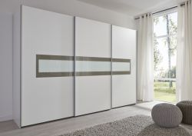 Schwebetürenschrank Kleiderschrank Dekor weiß grau Breite 301 cm