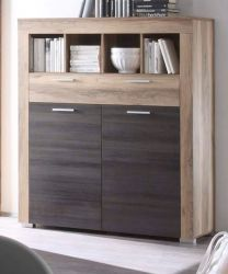 Kommode Highboard Boom in Nussbaum Satin mit Touchwood dunkelbraun 120 x 137 cm