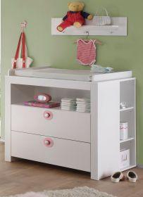Babyzimmer Wickelkommode Olivia in weiß und rosa Set 3 tlg. Wickeltisch mit Regal und Wandregal 96 cm