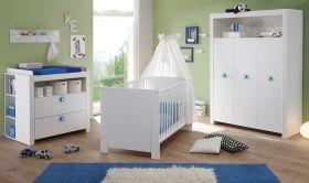 Babyzimmer Olivia komplett Set in weiß 5-teilig inkl. abnehmbarer Applikationen in blau