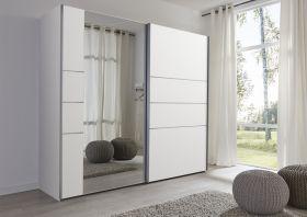 Schwebetürenschrank Kleiderschrank Dekor weiß Spiegel Breite 202 cm