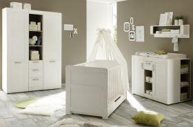 Babyzimmer komplett Landi 3-teilig, weiß, Pinie