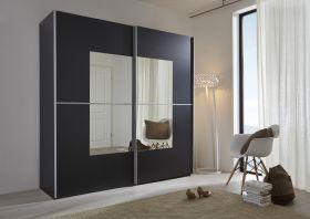 Schwebetürenschrank Kleiderschrank Dekor schwarz Spiegel Quadrat Breite 202 cm