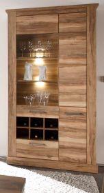 Vitrine Montreal in Nussbaum Satin Vitrinenschrank mit Flaschenregal 106 x 210 cm