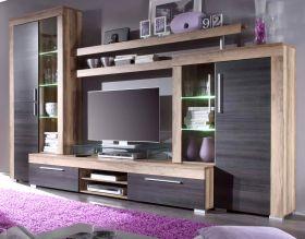 Wohnzimmer: Wohnwand Boom Nussbaum Satin, Touchwood dunkelbraun (308 x 212 cm) inkl. LED-Beleuchtung