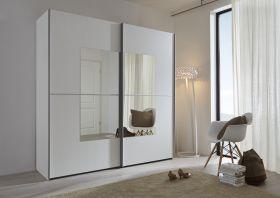 Schwebetürenschrank Kleiderschrank Dekor weiß Spiegel Quadrat Breite 202 cm