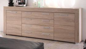 Wohnzimmer: Sideboard Boom Sonoma Eiche hell, sägerau (176x79 cm)