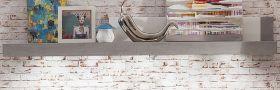 Wandboard Bücherregal Pure weiß Hochglanz mit Industrie Beton 210 x 30 cm