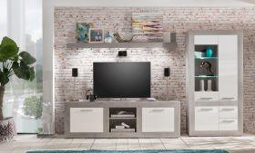 Wohnwand Pure Hochglanz weiß mit grau / Industrie Beton 320 x 201 cm inkl. Beleuchtung