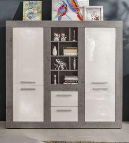 Wohnwand Pure Hochglanz weiß mit Industrie Beton Design 170 x 164 cm