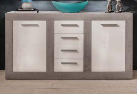 Sideboard Anrichte Pure Hochglanz weiß mit Industrie Beton 170 x 94 cm