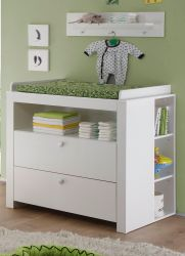Babyzimmer Olivia in weiß komplett Set 3-teilig mit Wickelkommode Regal und Wandregal
