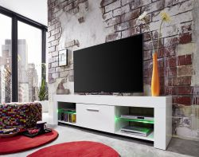 TV Unterteil Rom weiß Glanz Lowboard inkl. LED Beleuchtung mit Farbwechsel 160 x 45 cm