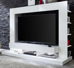 Wohnzimmer: Medienwand TTX05 Hochglanz weiß (165x125 cm) für TVs bis ca. 55